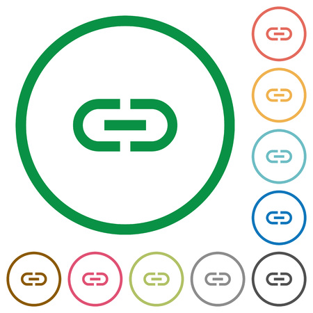 Insert link flat color icons in round outlines on white background