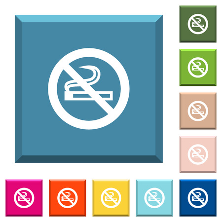 No smoking sign white icons on edged square buttons in various trendy colors