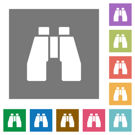 Binoculars flat icons on simple color square backgrounds Çizim