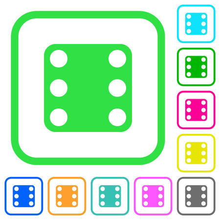 Domino six vivid colored flat icons in curved borders on white background