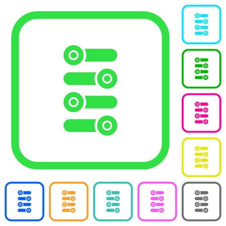 Fine tune vivid colored flat icons in curved borders on white background