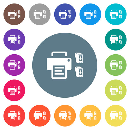 Printer and ink cartridges flat white icons on round color backgrounds. 17 background color variations are included. 向量圖像