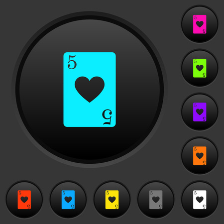 Five of hearts card dark push buttons with vivid color icons on dark grey background Foto de archivo - 108833995