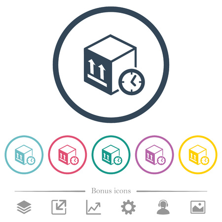 Package shipping time flat color icons in round outlines. 6 bonus icons included.