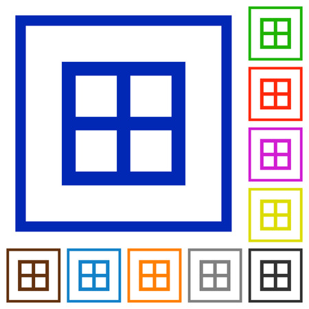 All borders flat color icons in square frames on white background Ilustracja