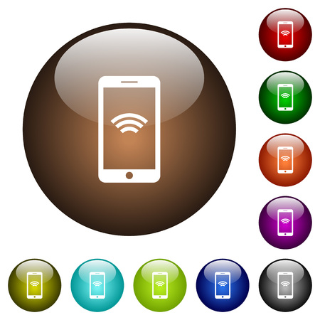 Cellphone with wireless network symbol white icons on round color glass buttons