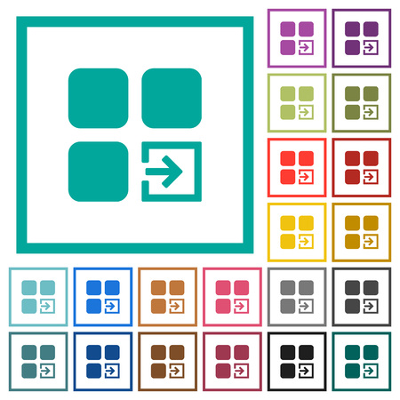 Import component flat color icons with quadrant frames on white background