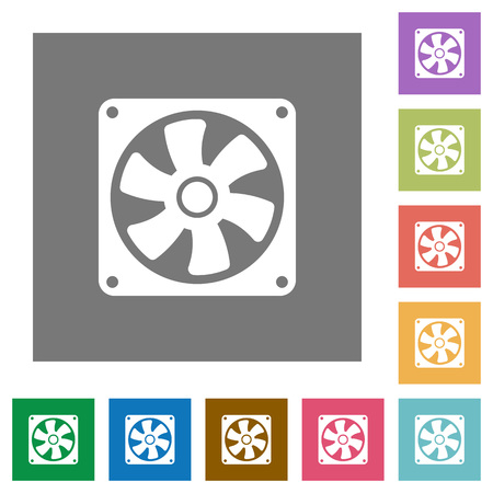 Computer fan flat icons on simple color square backgrounds Ilustrace