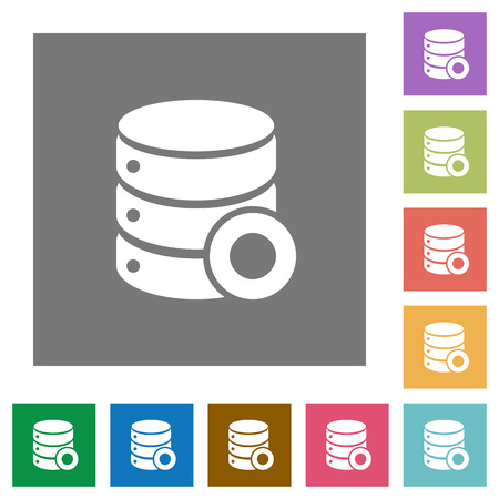 Database macro record flat icons on simple color square backgrounds