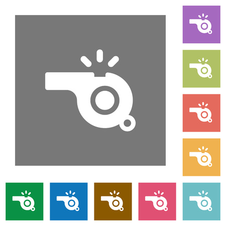 Whistle flat icons on simple color square backgrounds