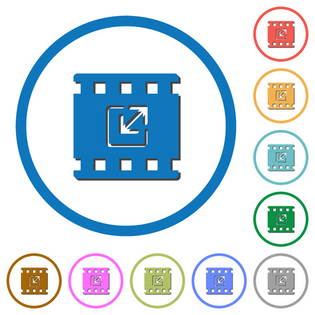 Resize movie flat color vector icons with shadows in round outlines on white background