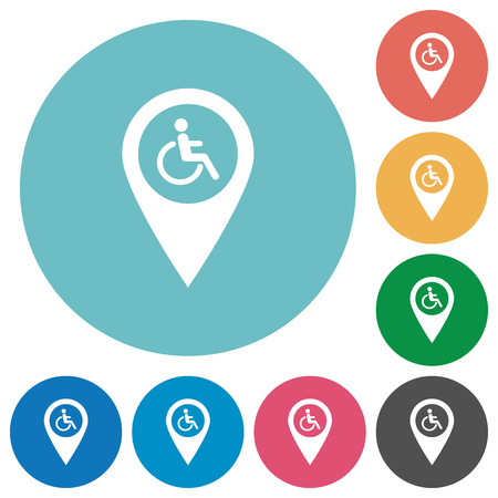 Disability accessibility GPS map location flat white icons on round color backgrounds