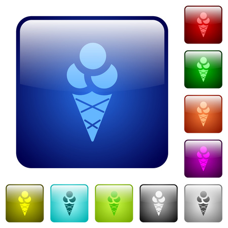 Ice cream icons in rounded square color glossy button set Çizim