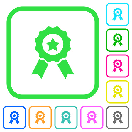 Award with ribbons vivid colored flat icons in curved borders on white background Illustration