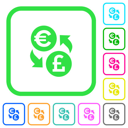 Euro Pound money exchange vivid colored flat icons in curved borders on white background Illustration