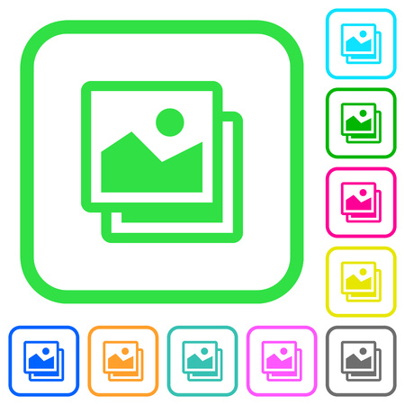 Pictures vivid colored flat icons in curved borders on white background