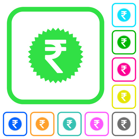 Indian Rupee sticker vivid colored flat icons in curved borders on white background Illustration