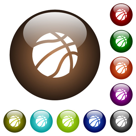 Basketball white icons on round color glass buttons