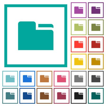 Icone di colore piatto cartella scheda con cornici quadrante su sfondo bianco