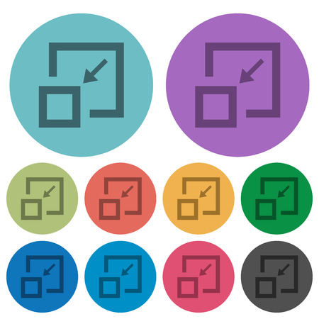 Shrink window darker flat icons on color round background 向量圖像