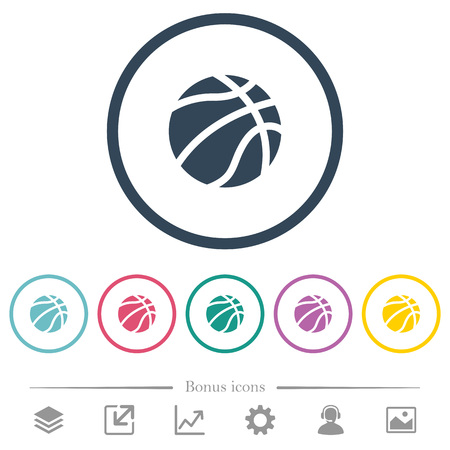 Basketball flat color icons in round outlines. 6 bonus icons included.