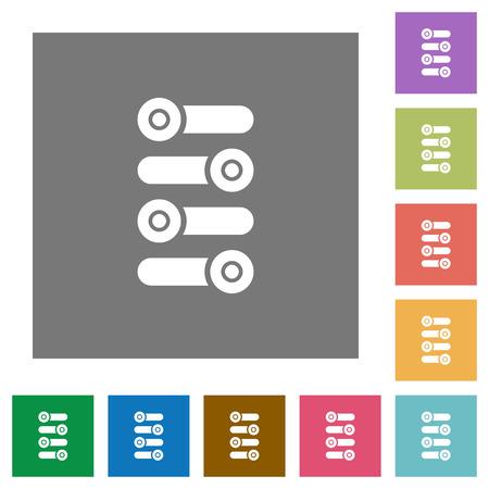 Ajustez les icônes plates sur des arrière-plans carrés de couleur simple