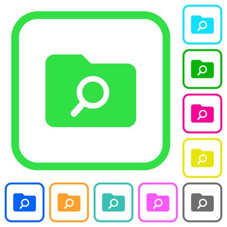 Folder search vivid colored flat icons in curved borders on white background