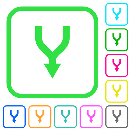 Merge arrows down vivid colored flat icons in curved borders on white background Archivio Fotografico - 109685687