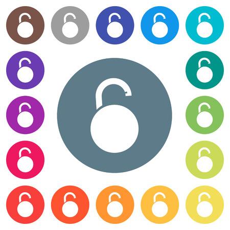 Unlocked round padlock flat white icons on round color backgrounds. 17 background color variations are included.