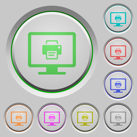 Print screen color icons on sunk push buttons