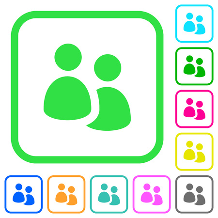 User group vivid colored flat icons in curved borders on white background