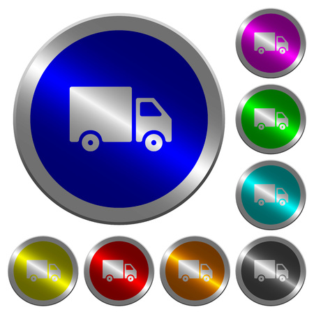 Delivery truck icons on round luminous coin-like color steel buttons