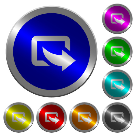 Export symbol with bottom right arrow icons on round luminous coin-like color steel buttons
