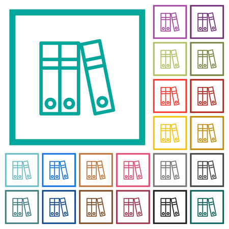 Document folders flat color icons with quadrant frames on white background