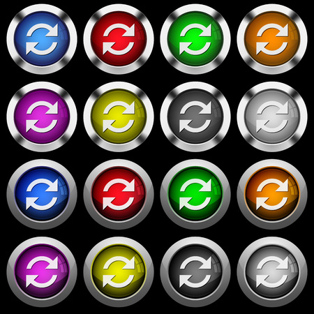Refresh arrows white icons in round glossy buttons with steel frames on black background. The buttons are in two different styles and eight colors.