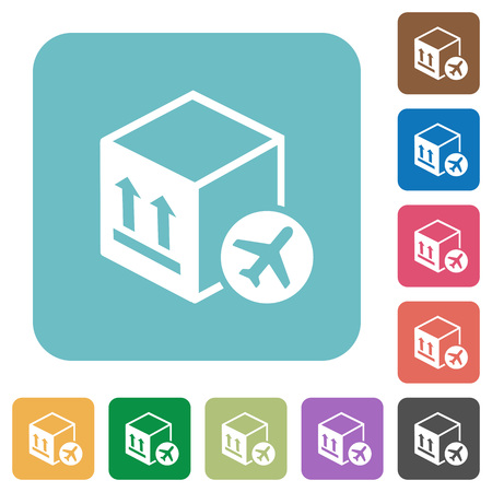 Air package transportation white flat icons on color rounded square backgrounds