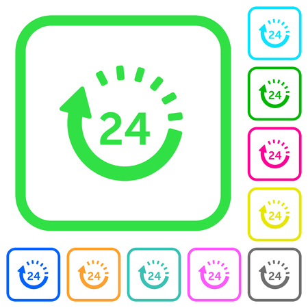 24 hour delivery vivid colored flat icons in curved borders on white background