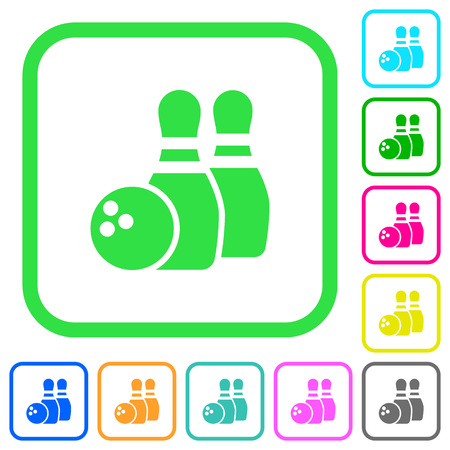 Bowling vivid colored flat icons in curved borders on white background