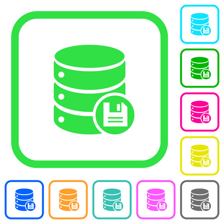Database save vivid colored flat icons in curved borders on white background