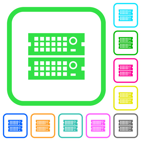 Rack servers vivid colored flat icons in curved borders on white background