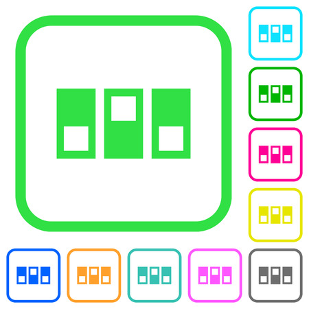 Switchboard vivid colored flat icons in curved borders on white background Иллюстрация