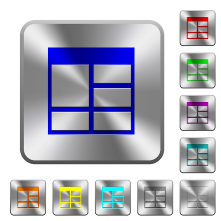 Spreadsheet vertically merge table cells engraved icons on rounded square glossy steel buttons Illustration