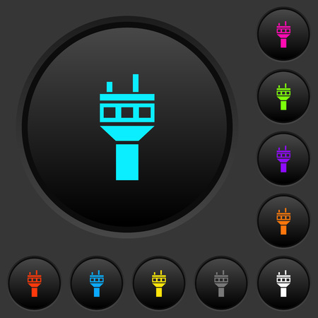 Air control tower dark push buttons with vivid color icons on dark grey background