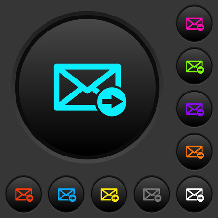 Mail forwarding dark push buttons with vivid color icons on dark grey background
