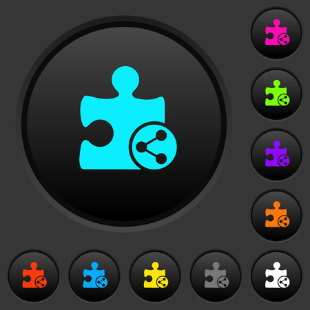 Share plugin dark push buttons with vivid color icons on dark grey background Ilustrace