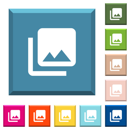 Photo library white icons on edged square buttons in various trendy colors
