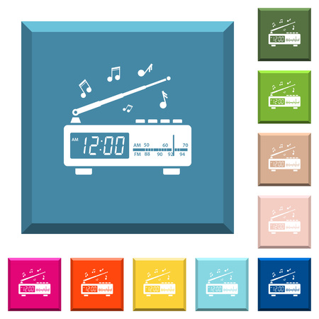 Vintage radio clock with music white icons on edged square buttons in various trendy colors