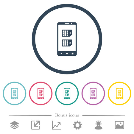 Dual SIM mobile flat color icons in round outlines. 6 bonus icons included.