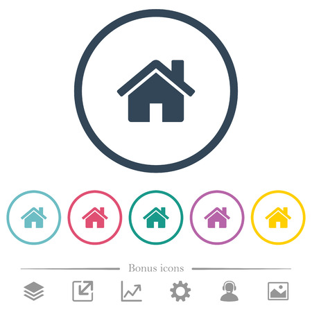 Home flat color icons in round outlines. 6 bonus icons included.