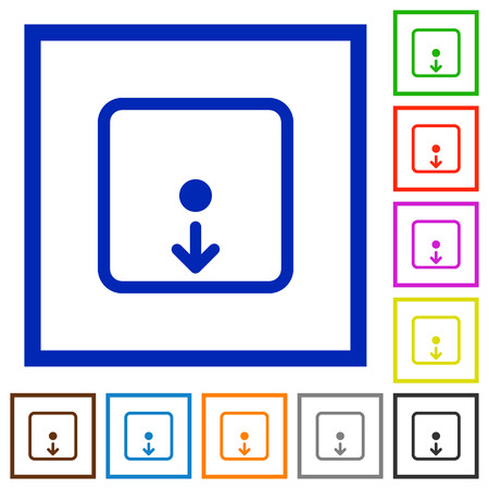 Move object down flat color icons in square frames on white background